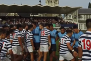 Members of Otago Boys' and King's First XVs face off during a haka. Photo / Supplied