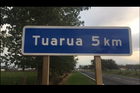 A new town emerged briefly in Hauraki District yesterday after a spelling boo-boo was made on Turua's new sign. Photo/ Karma Vitasovich