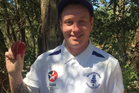 Aled Carey basking in the aftermath of his six wickets in six balls for Golden Point against East Ballarat.