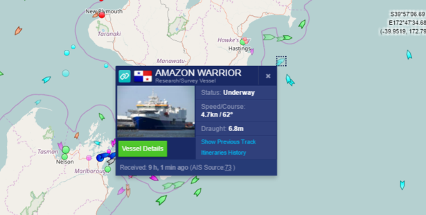 The world's largest seismic blasting ship, the Amazon Warrior, is in Hawke Bay. Photo / Marine Tracking