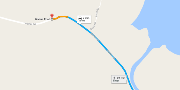 The van, carrying five people, was reported as having rolled at 4:45pm on Wainui Road, near Harrison Road. Photo / Google Maps