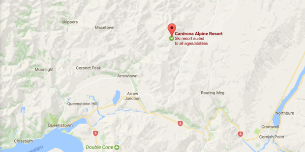 A woman was airlifted to hospital after a mountain bike accident near Cardrona Ski Field. Photo / Google maps