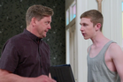 Chris Warner confronts his son over his dick pic. Photo/TVNZ