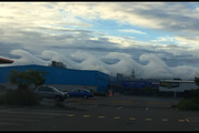 """The """"breaking wave"""" clouds, also know as Kelvin-Helmholtz instability waves, which formed over the eastern side of Palmerston North early today. Photo / Carl Gadsby"""