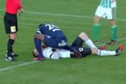 Francis Kone of Czech club Slovacko treats Bohemians 1905 goalkeeper Martin Berkovec following a collision with a teammate. Photo / YouTube.