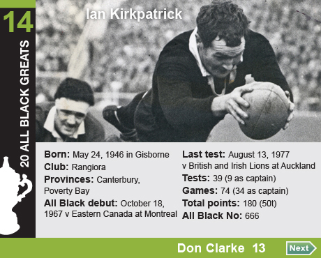 20 All Black Greats: 14 Ian Kirkpatrick. Born: May 24, 1946 in Gisborne, Club: Rangiora, Provinces: Canterbury, Poverty Bay, All Black debut: October 18, 1967 v Eastern Canada at Montreal, Last test: August 13, 1977 v British and Irish Lions at Auckland, Tests: 39 (9 as captain), Games: 74 (34 as captain), Total All Black points: 180 (50t), All Black No: 666