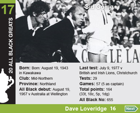 20 All Black Greats: 17 Sid Going. Born: Born: August 19, 1943 in Kawakawa, Club: Mid-Northern, Province: 