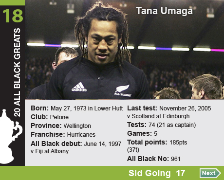 20 All Black Greats: 18 Tana Umaga. Born: May 27, 1973 in Lower Hutt, Club: Petone, Province: Wellington, 