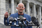 Gareth Morgan announcing the formation of the Opportunities Party at Parliament. New Zealand Herald photograph by Mark Mitchell