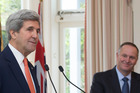 US Secretary of State John Kerry and Prime Minister John Key during a press conference today at Premier House. Photo/ Mark Mitchell