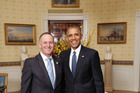 John Key and Barack Obama in the Blue Room at the White House earlier this year.