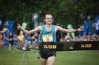 2017 ASB Auckland Marathon winner Matt Davy celebrates crossing the finish line on Sunday morning.New Zealand Herald Photo by Greg Bowker