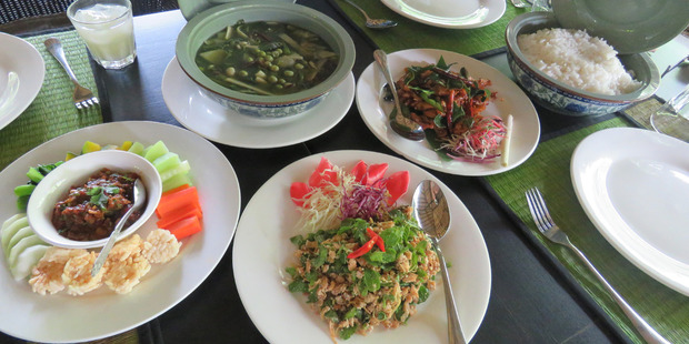 Lunch at the Pha Tad Ke café was a feast of delectable Lao dishes.