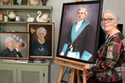 Artist Sue Gordon with her portrait of her great-grandfather Joseph Bathurst that got her interested in painting people, plus some of the pieces from the forthcoming exhibition.