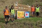 Parks asset co-ordinator for Mauao Dave Grimmer (left), iwi kaitiaki Takiri Butler, Suzy O'Neill from the Tauranga City Council, and Mauao Surveillance Team co-ordinator Kia Maia Ellis. Photo / Supplied