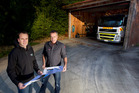 Dave Herries, left, and Phil Muldoon from the Lake Okareka Rural Fire Force with the plans for the brand new fire station. Photo/Ben Fraser
