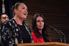 Social Development Minister Carmel Sepuloni speaks to media with Prime Minister Jacinda Ardern. Photo / Marty Melville