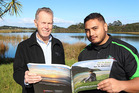 Northland regional councillor Mike Finlayson (left) and Ihaka Korewha, from Te Runanga o Ngai Takoto's dune lakes team, at Lake Ngatu, one of the ecologically outstanding dune lakes to be targeted in a five-year, $1.5 million-plus programme aimed at restoring and protecting water quality.