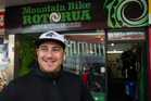Tak Mutu outside his new central Rotorua store on Fenton St. Photo/Stephen Parker