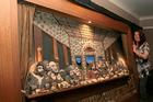 Artist Fran Mens with her tribute to Leonardo da Vinci's The Last Supper.