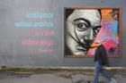 The Salvador Dali mural was salvaged from demolition on James St and is now adding some colour to Butter Factory Lane and Rathbone St. Photo/John Stone