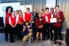 The Shine on Kaitaia crew in Wellington on Thursday night, with Minister for Youth Peeni Henare.