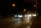 Traffic on Te Atatu Rd, near where where a pedestrian was fatally struck. Photo / Doug Sherring