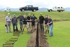 Some of the Paraparaumu Beach Golf Club irrigation project team, from left, Kevin Stratton, David Allan, Cam Gerrard, Daniel Dexter, Leo Barber, Neil Mudge, Ben Finn, Luke Cardno and Graeme Aitken.