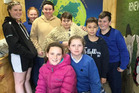 Pupils from Stirling and Kaitangata primary schools taking in The Woolshed are (back from left) Samantha Affleck (11), Nervanah McKenzie (11), Hadley Lowry (12), Max Marshall (11), Rylan Gouman (11), Tipene Wereta-McDiarmid (11), (front from left) Zara Milne (11) and Topaz Jemmett (11). Photo: Ella Stokes