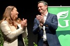 Green Party leaders Marama Davidson and James Shaw at the party's annual general meeting in Palmerston North today. Photo / Lucy Bennett