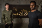 Musician Peter Hobbs and artist Chirag Jindal at the Into the Underworld Exhibition, in Auckland's Silo Park. Photo / Greg Bowker