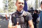 A weary Michael De Ridder after crossing the finish line of the Tahoe 200 Endurance Run Ultra in California yesterday morning.