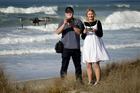 Father-daughter 'Kiwi Droneography' team Bernard and Chelsea Satherley are happy drones are allowed on the beach. Photo/Andrew Warner
