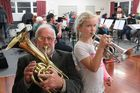 Richard Edgecombe (Hamilton City Brass) and Lizzie Barr (Brass Factory) rehearsing with Hamilton Auxiliary Brass. Photo / Supplied