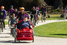 Rotorua residents ride through Kuira Park on the Purple Bike Ride to acknowledge the end of Dementia-Friendly Awareness Week. Photo / Stephen Parker