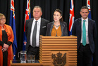 The day in April when Prime Minister Jacinda Ardern announced the ban on new offshore oil and gas exploration permits with Megan Woods, Shane Jones and James Shaw. Photo /  Mark Mitchell