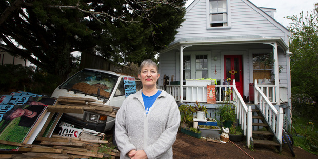 Penny Bright at her home in Kingsland, Auckland. Auckland Council has requested the High Court sell Bright's property to recover unpaid rates and penalties dating back to 2007.