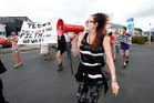 Protesters, showing their opposition to Tegel Food's proposed broiler chicken farm, march through Dargaville. Photo / Michael Cunningham