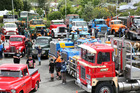 The car  park at Caroline's Boatshed was chocka-block when the Northern Classic Commercial Trucks convoy stopped for lunch.  Photo/Bevan Conley