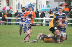 After last year's thriller in Paeroa, Wanganui captain Roman Tutauha, with ball, and team cannot take first time Meads Cup semifinalists Thames Valley lightly on Saturday. Photo by Merrilyn George.
