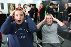 It was a shock for Woodville schoolgirls, Grace Timmins, 12, left, and Annabelle Longuet-Higgions, 13, after their Shave for a Cure at You Hairdressing in Woodville on Saturday. Photo Christine McKay.