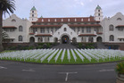 Auckland Grammar School remembers its old boys killed in World War One with memorial crosses. Photo / Malcolm Sines