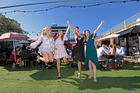 Nursing students Rayne Saxton, Gemma Bryenton, OliviaVan Breda, Kendall Teal got dolled up to watch the Melbourne Cup at Our Place in the Tauranga CBD. Photo / George Novak