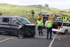 Emergency services at the scene of a crash at the Taupo Bay Rd intersection with State Highway 10. Photo / Peter de Graaf