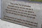 A plaque on a seat in Wellington Road remembering Caroline Boyd. Photo / David Haxton