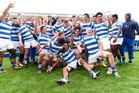 St Kentigern players celebrate after they win the final against Sacred Heart last year. Photo / Photosport