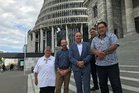 Treaty of Waitangi Negotiations Minister Andrew Little meeting representatives of Ngapuhi at Parliament in March, to discuss ways to progress redress negotiations for the iwi.  From left, Rudy Taylor,  Andrew Little, Pita Tipene, Hone Sadler (behind) and Raniera (Sonny) Tau.