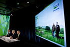 Fonterra CFO Marc Rivers, chairman John Monaghan, and CEO Miles Hurrell face the media at the co-op's results presentation in September. Photo/NZ Herald.