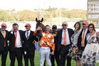 The O'Leary clan, trainer Chris Waller, stable hands and rider Blake Shinn celebrate Who Shot Thebarman's Sydney Cup win at his sixth attempt in April this year.