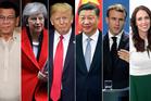 From left, Rodrigo Duterte, Theresa May, Donald Trump, Xi Jinping, Emmanuel Macron and Jacinda Ardern. Photos / AP, Pool